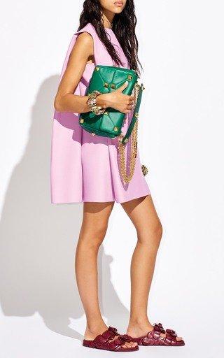 Wool-Silk Crepe Mini Cape Dress