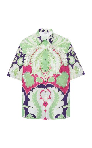Oversized Printed Cotton-Poplin Shirt