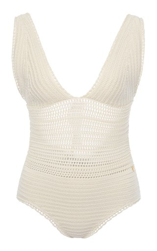 Crocheted Cotton One-Piece Swimsuit