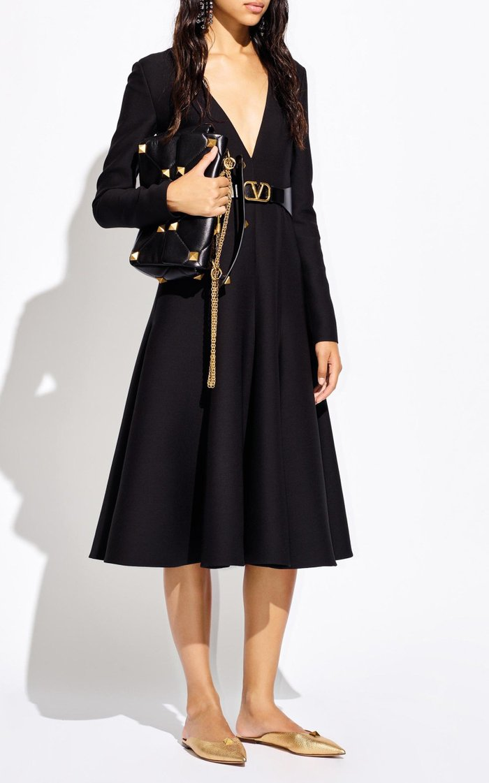 Wool-Silk Crepe Midi Dress