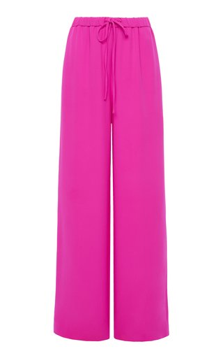 Drawstring Silk Cady Wide-Leg Pants