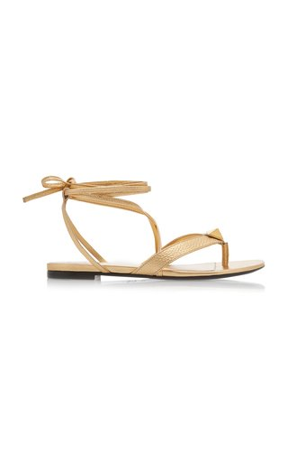 Valentino Garavani Roman Stud Metallic Leather Sandals