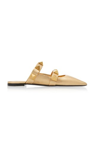 Valentino Garavani Roman Stud Metallic Leather Mules