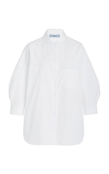 Peter Pan-Collar Cotton Poplin Shirt