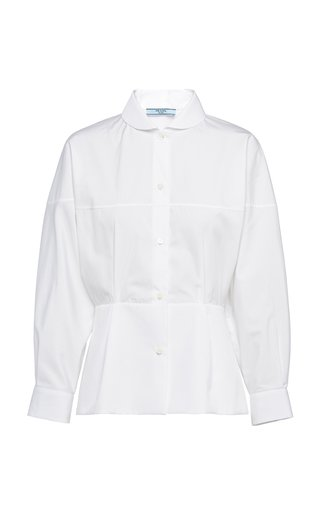 Peter Pan-Collar Cotton Poplin Shirt