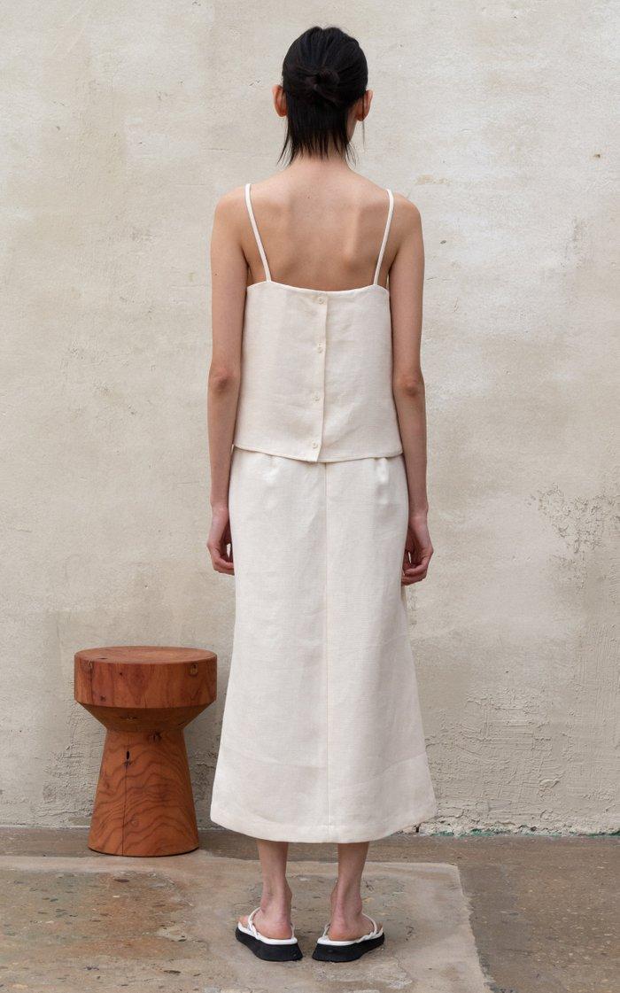 Wrap-Effect Midi Skirt
