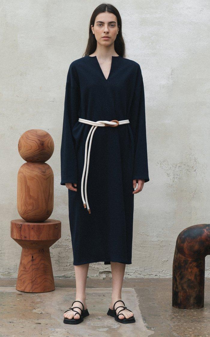 Belted Cotton-Blend Midi Dress