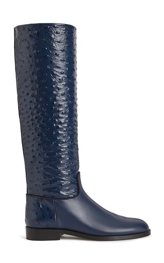 Embossed Knee High Riding Boots