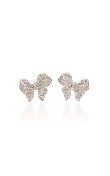 Puffy Bow Crystal-Embellished Rhodium-Plated Earrings