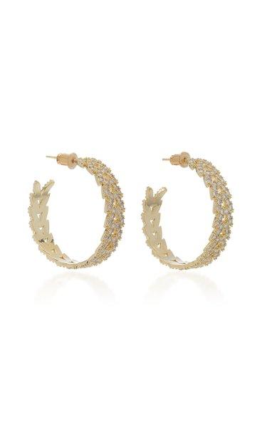 Laurel Pavé Crystal Gold-Plated Hoop Earrings