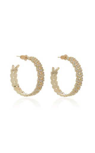 Laurel Pavé Crystal Gold-Plated Hoop Earrings