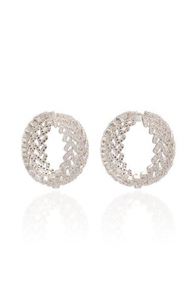 Laurel Pave Crystal Rhodium-Plated Hoop Earrings