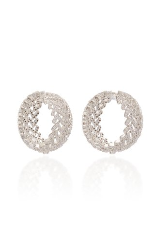 Laurel Pave Crystal Rhodium-Plated Hoop Earrings