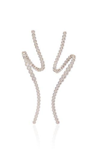 Radiant Swirl Crystal-Embellished Rhodium-Plated Earrings