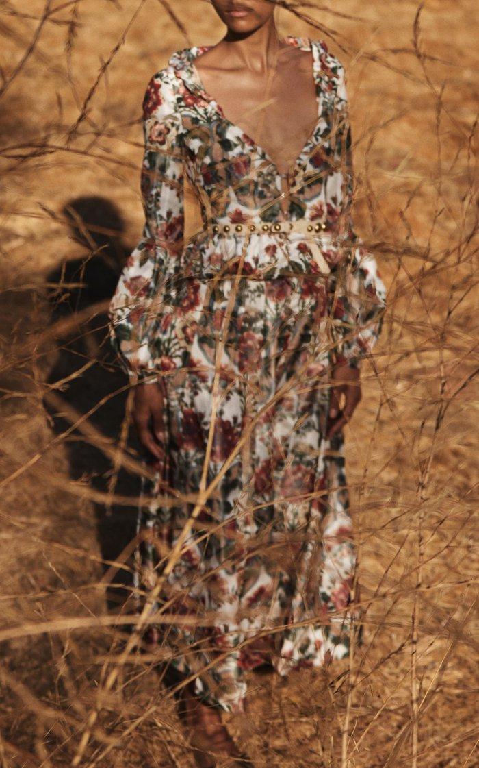 Sonia Pleated Floral Taffeta Maxi Skirt