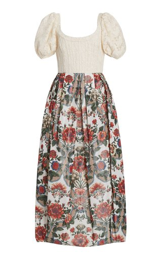 Salvina Macramé And Taffeta Midi Dress