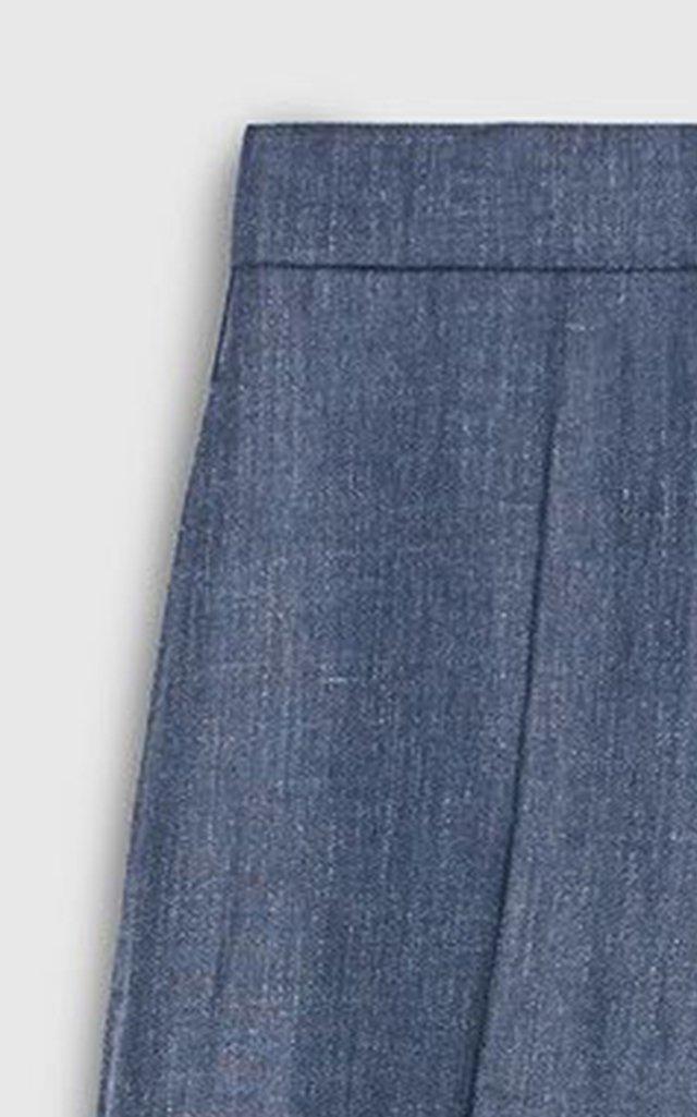 Simona Linen-Blend Chambray Wide-Leg Trousers