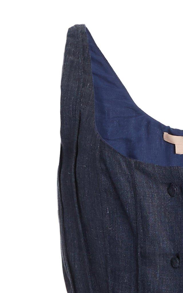 Sara Linen-Blend Chambray Button-Front Midi Dress