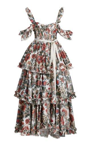 Samanta Floral Taffeta Cold-Shoulder Maxi Dress