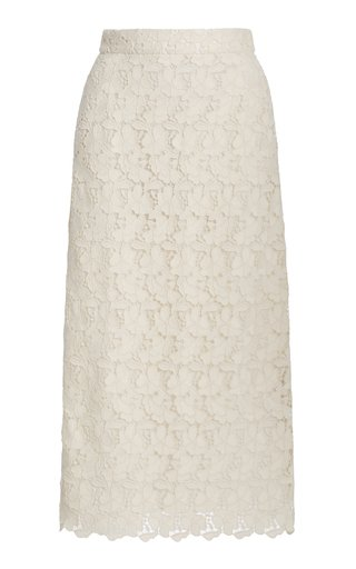 Stella Cotton-Blend Lace Midi Skirt