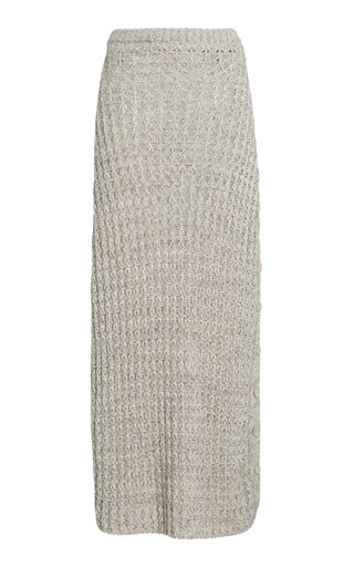 Sheila Button-Detailed Linen-Cotton Knit Midi Skirt