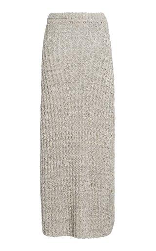 Sheila Button-Detailed Linen-Cotton Knit Midi Skirt