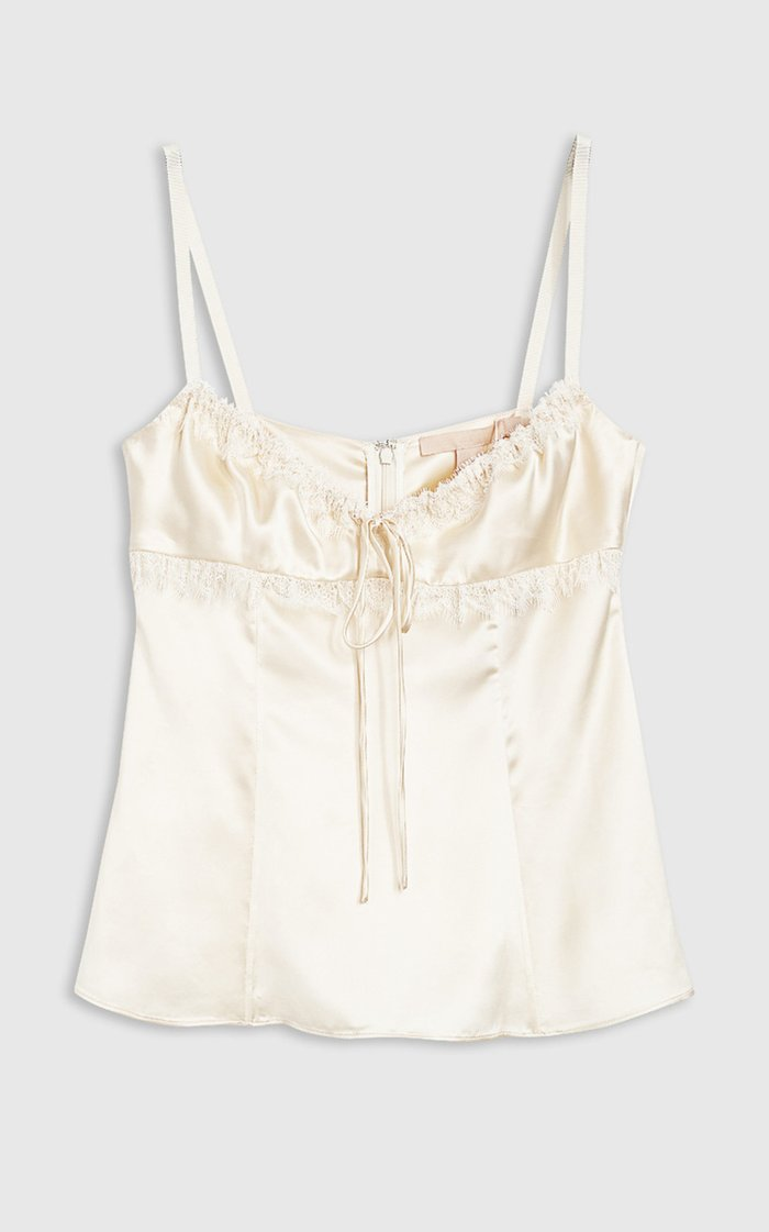 Siria Lace-Trimmed Satin Top