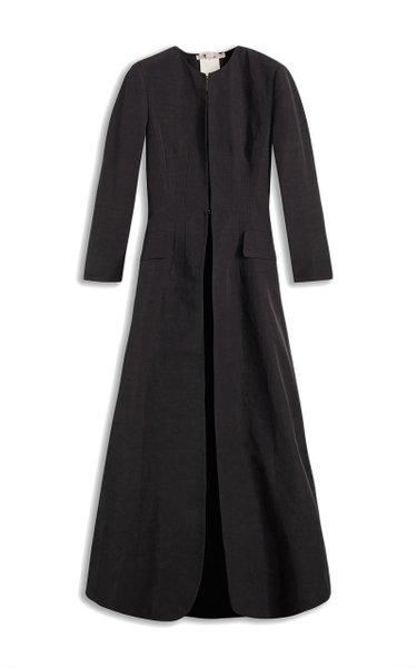 Sebastiana Cotton-Linen Collarless Coat