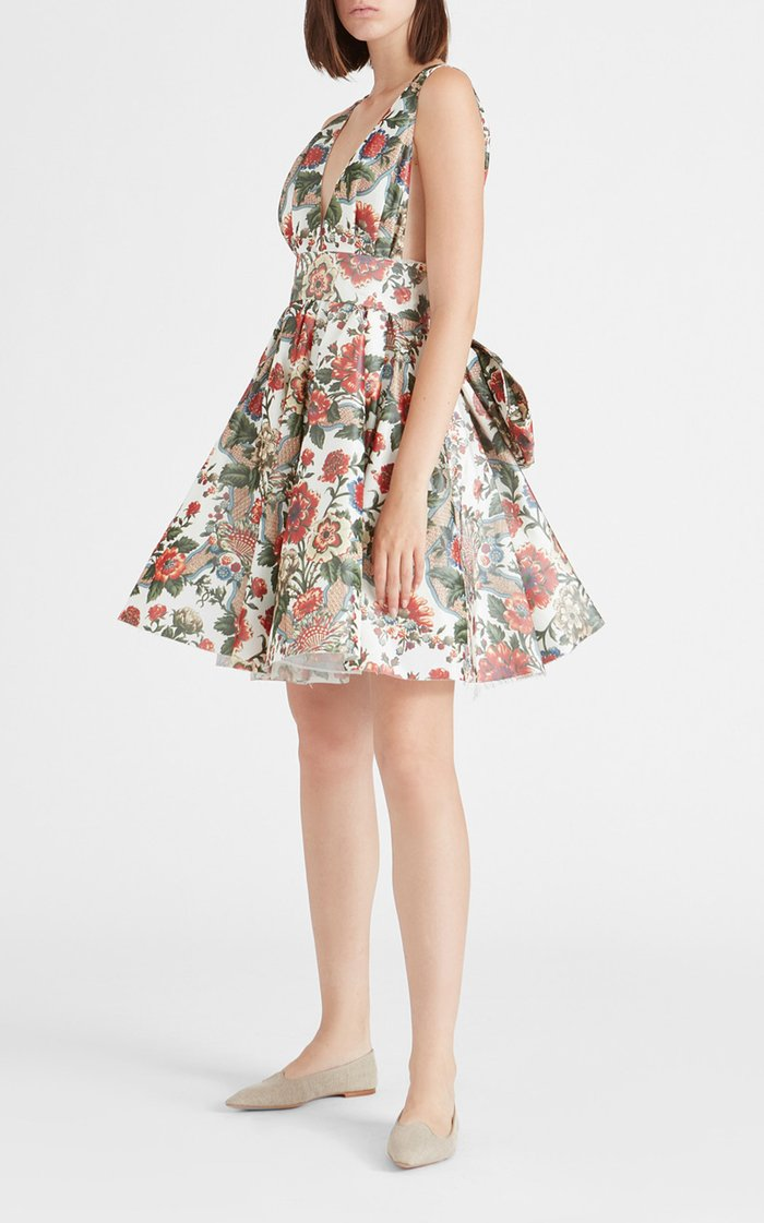 Quesyn Bow-Detailed Floral Taffeta Midi Dress