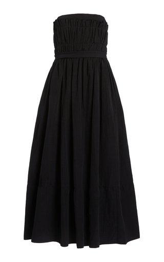Saura Smocked Cotton-Linen Midi Dress