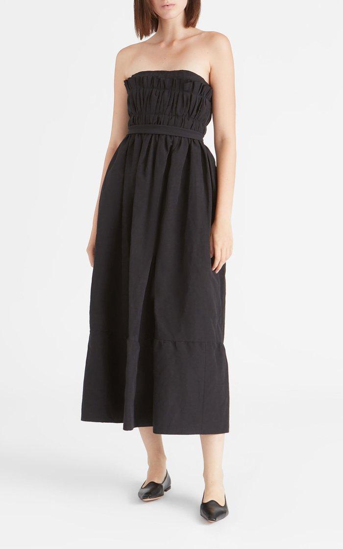Saura Smocked Cotton-Linen Strapless Midi Dress