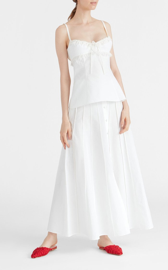 Siria Lace-Trimmed Cotton-Linen Top