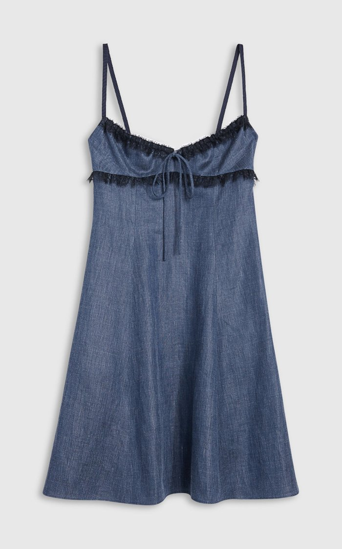 Selma Lace-Trimmed Linen-Blend Chambray Midi Dress