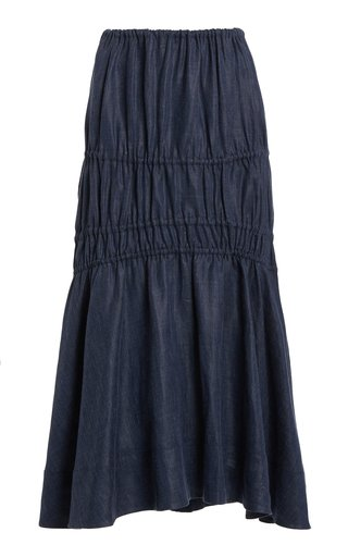 Susanna Ruched Linen-Blend Chambray Midi Skirt