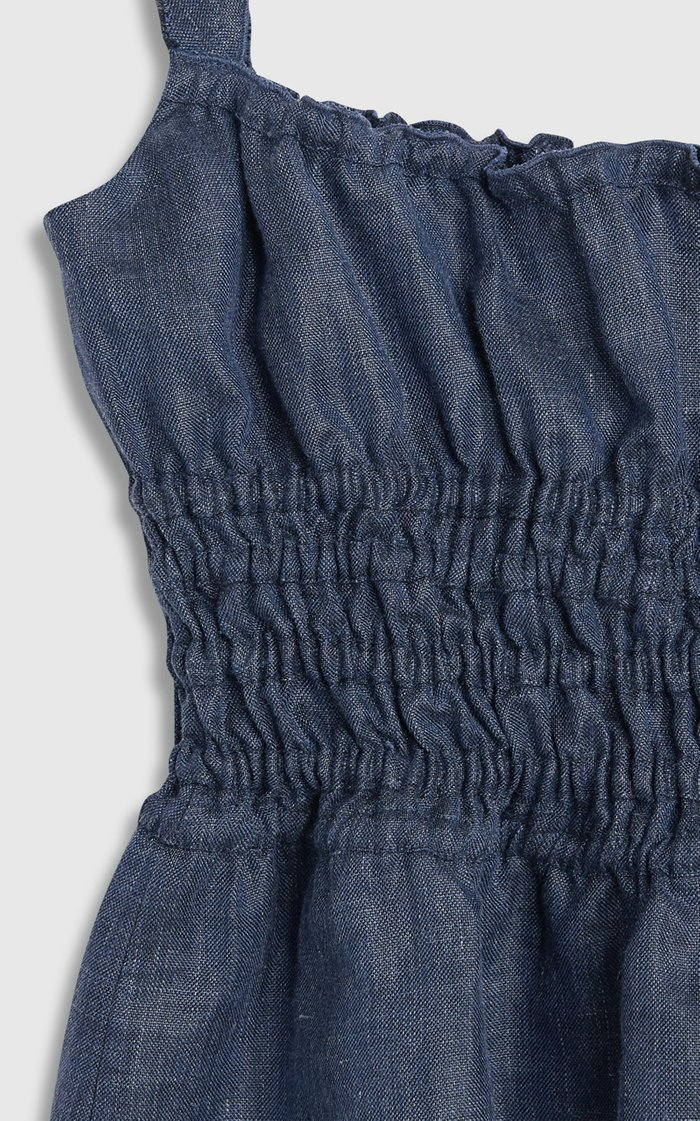 Silvia Ruched Linen-Blend Chambray Top
