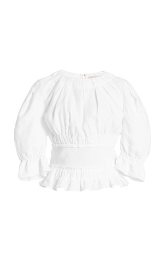 Soriana Smocked Linen Top