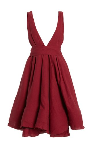 Quesyn Bow-Detailed Linen Mini Dress