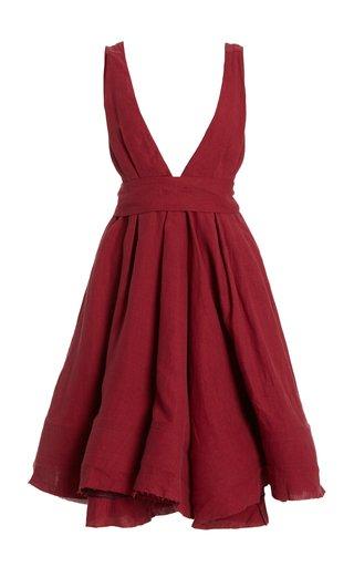 Quesyn Bow-Detailed Linen Mini Dress
