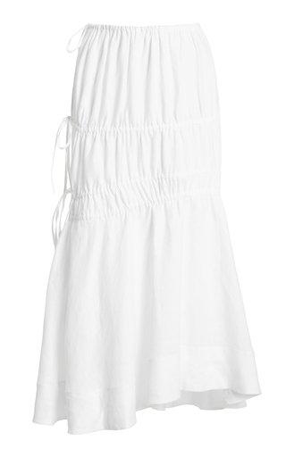 Susanna Ruched Linen Midi Skirt