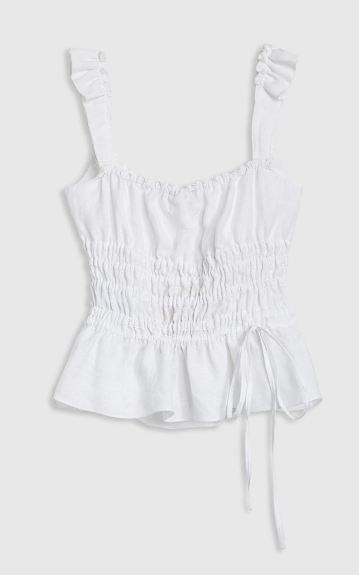 Silvia Ruched Linen Top