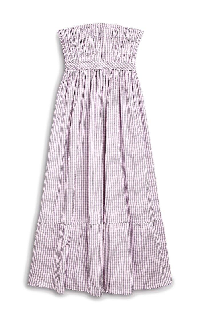 Saura Smocked Gingham Silk Strapless Midi Dress