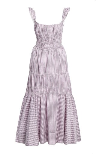 Prisca Smocked Gingham Silk Midi Dress