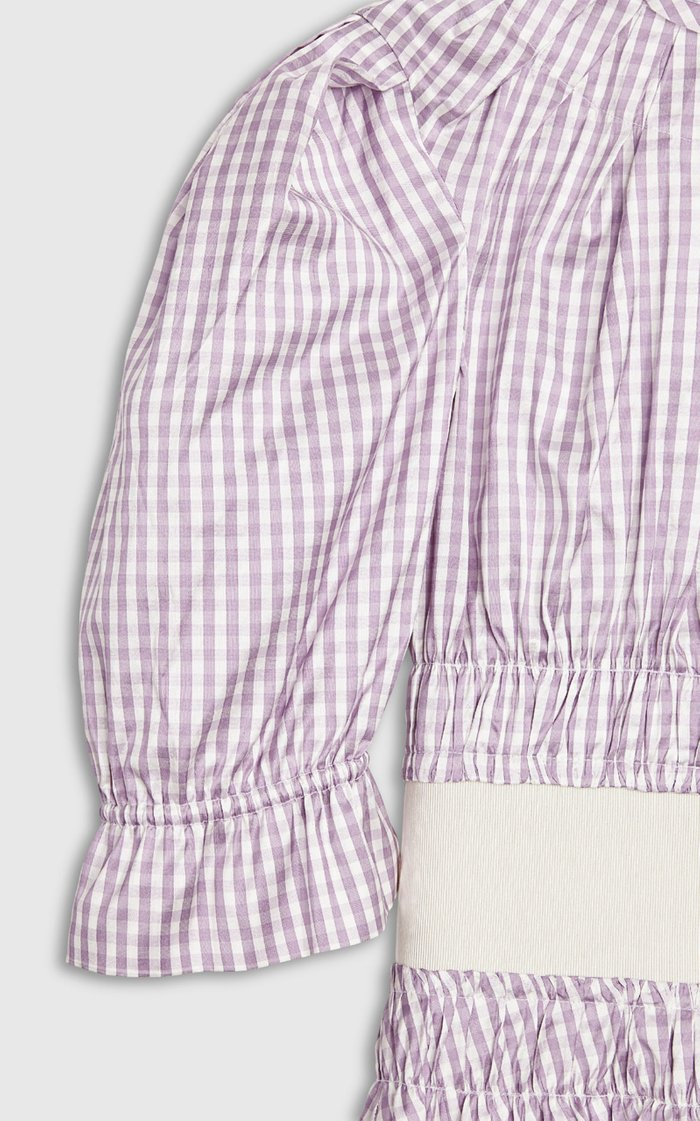 Soriana Grosgrain-Trimmed Smocked Gingham Silk Crop Top