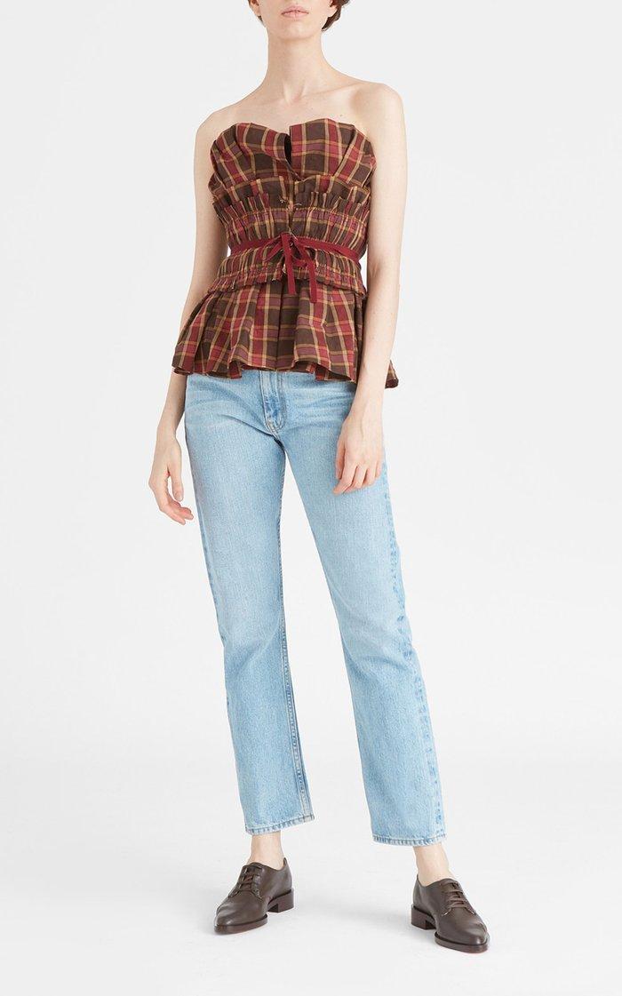Sofia Smocked Plaid Linen-Blend Strapless Top