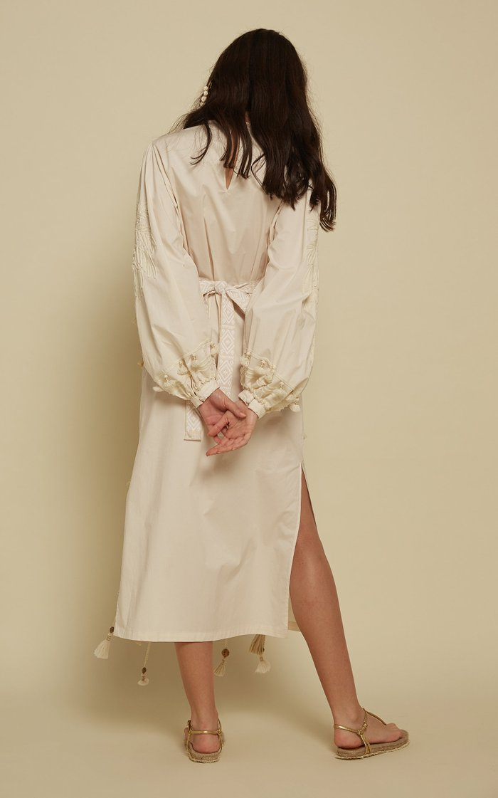 Dancing In Rio Belted Embroidered Cotton Midi Dress