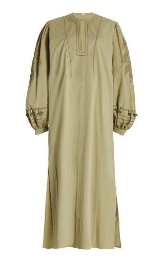 Dancing In Rio Embroidered Cotton Midi Dress