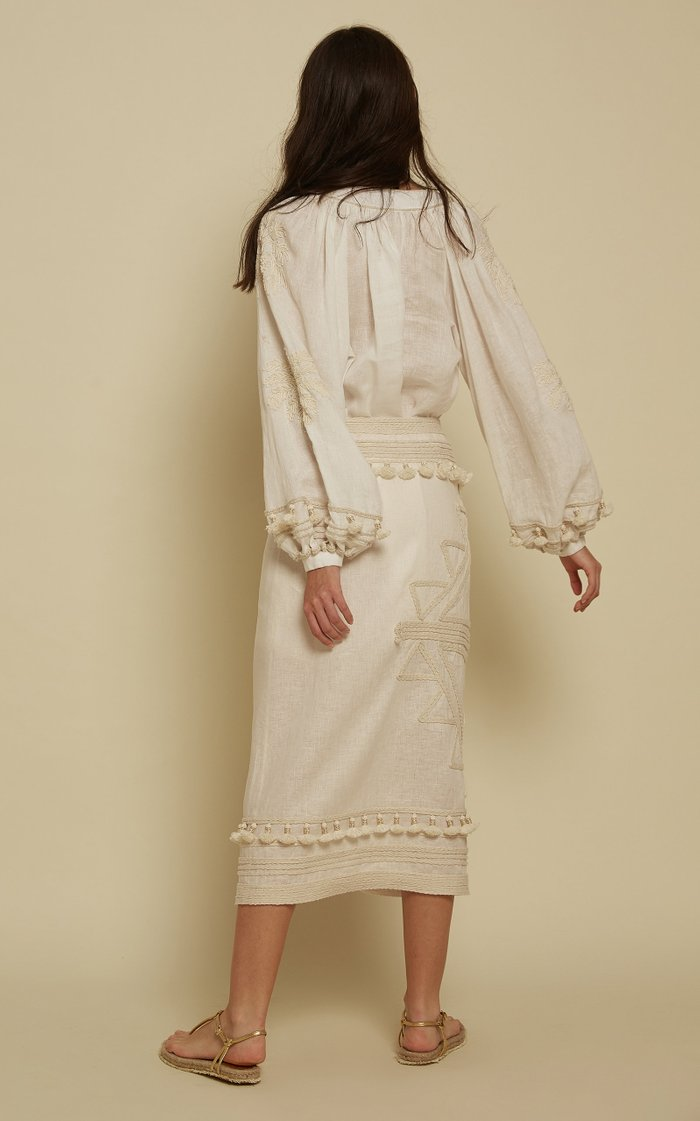 Tapestry Of Dreams Embroidered Linen Mini Dress