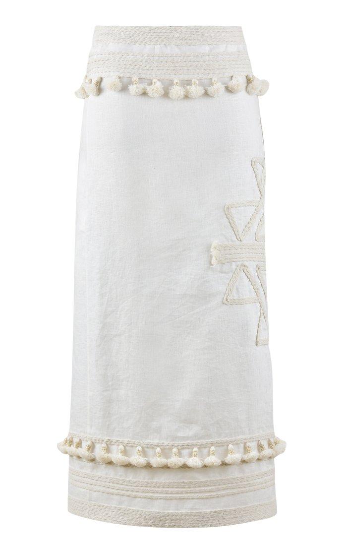 Eastern Frontier Embellished Linen Midi Wrap Skirt