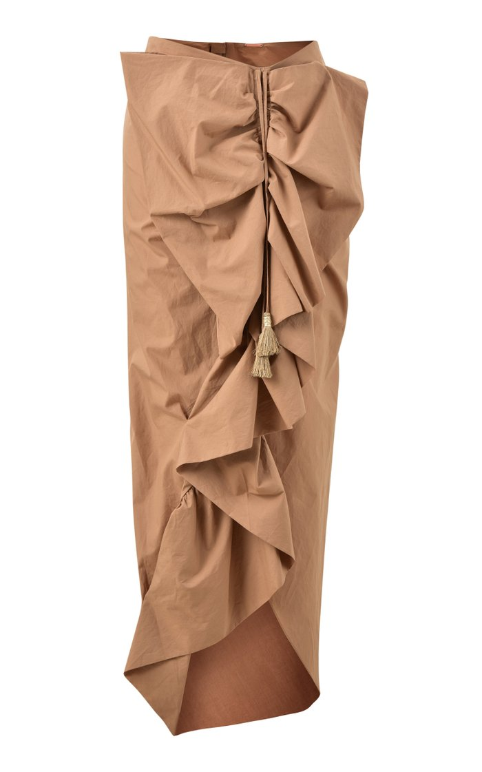 Lasting Memories Ruched Cotton Midi Skirt