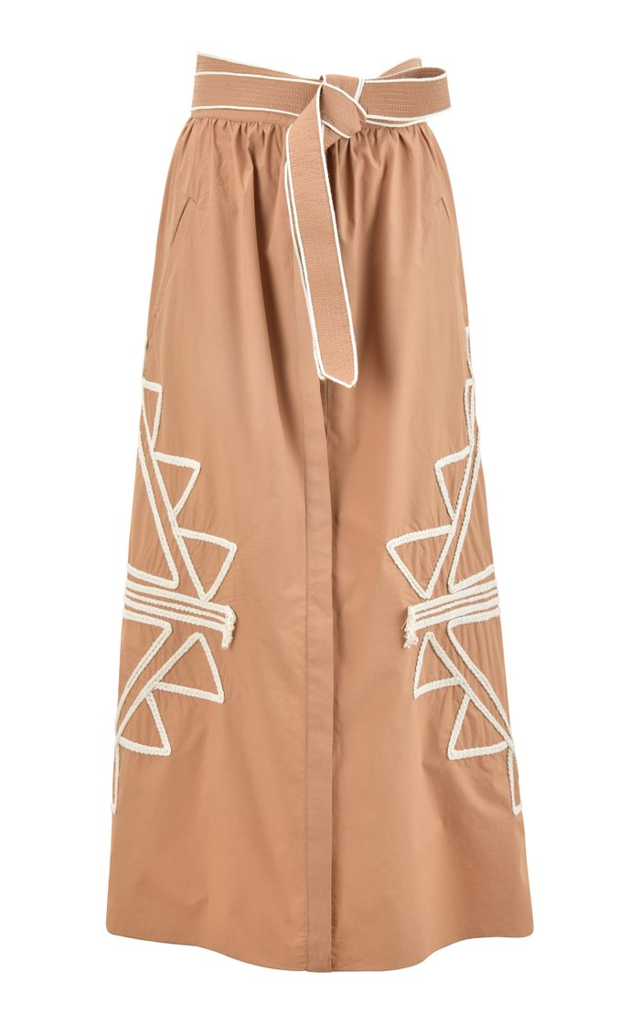 Foreign Expedition Embroidered Cotton Midi Skirt